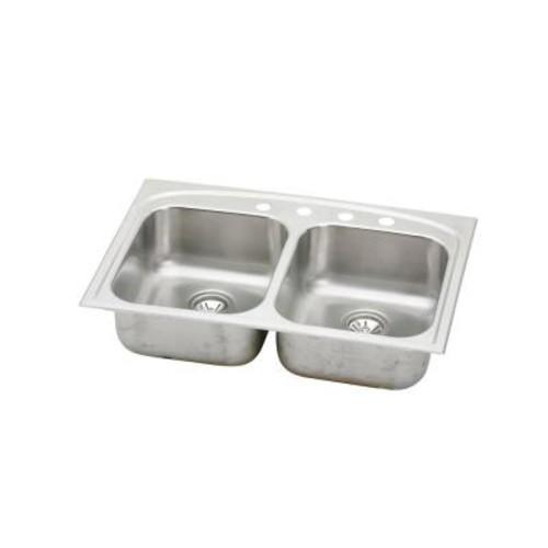Elkay Pergola Drop-In Stainless Steel 33 in. 4-Hole Double Bowl Kitchen Sink
