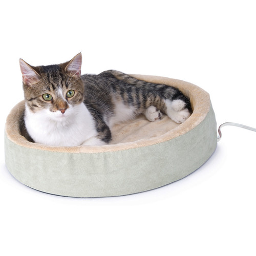 K&H Pet Products Thermo-Kitty Cuddle Up Cat Bed [Mocha]