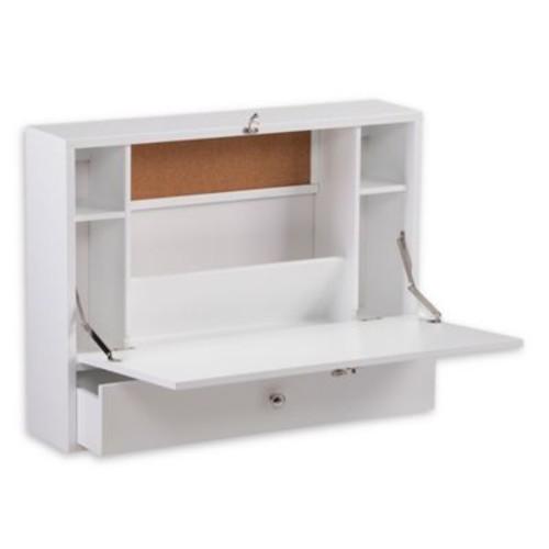 Southern Enterprises Wall Mount Folding Laptop Desk in Fresh White