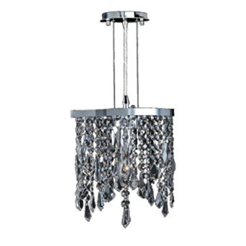 Worldwide Lighting Fiona Collection 1 Light Chrome Finish Crystal Pendant 10