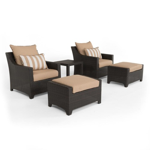 RST Brands Deco 5-Piece All-Weather Wicker Patio Club Chair and Ottoman Seating Set with Maxim Beige Cushions