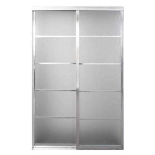 Contractors Wardrobe 96 in. x 96 in. Silhouette Bright Clear 5-Lite Mystique Glass Aluminum Interior Sliding Door