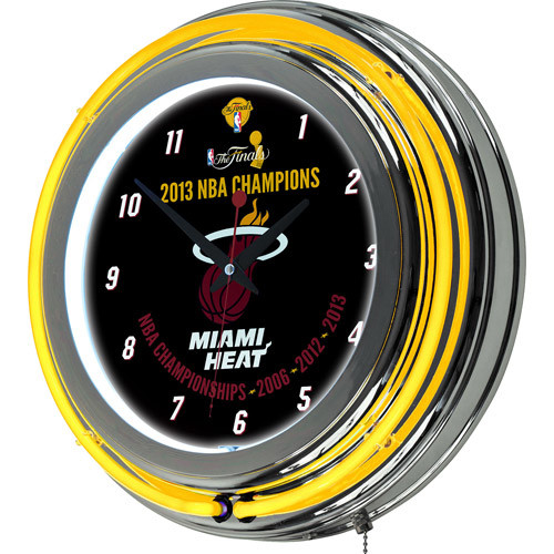 Miami Heat 2013 NBA Champions Neone Chrome Clock