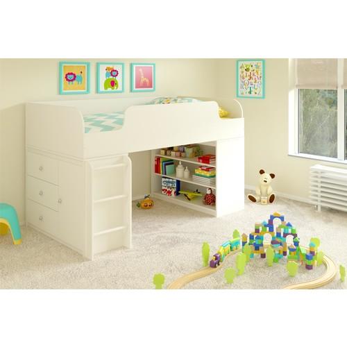 Dorel Elements White Stipple Loft Bed with Bookcase and 3-Drawer Storage Organizer