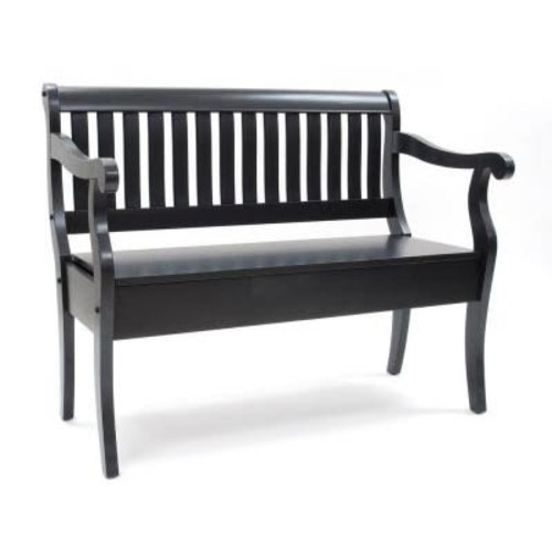Carolina Cottage Antique Black Veranda Storage Bench