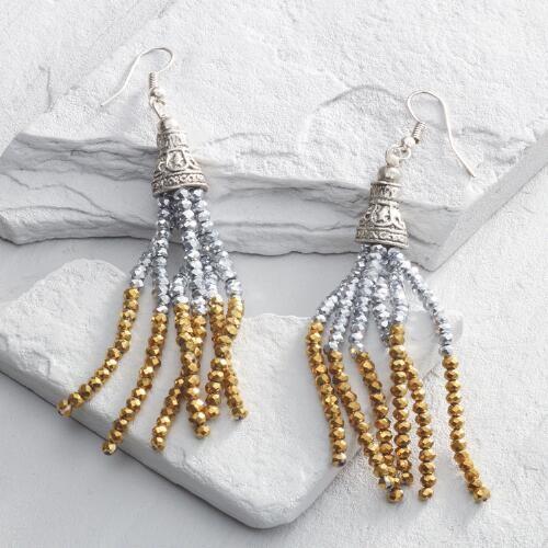 Gold and Hematite Beaded Tassel Earrings