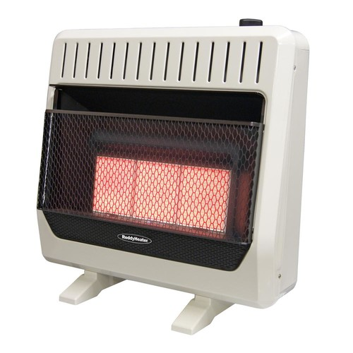 Reddy Heater 28,000 BTU Unvented Infrared Propane Gas Wall Heater with Thermostat and Blower