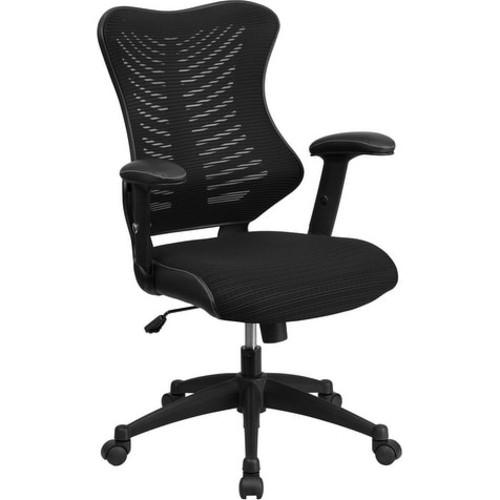 Silkeborg High-Back Black Mesh Executive Swivel Chair w/Adj Arms