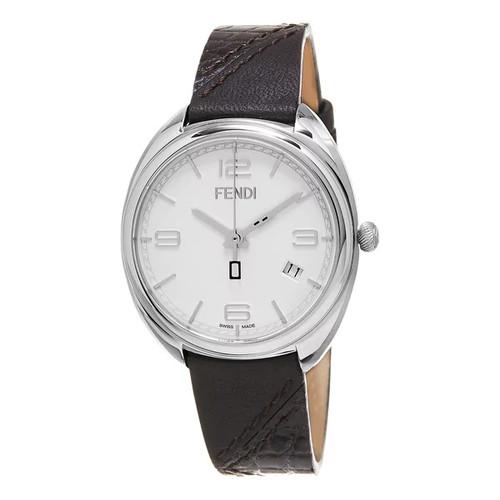 Fendi Women's F210034021 'Momento' White Dial Brown Leather Strap Swiss Quartz Watch - Women's