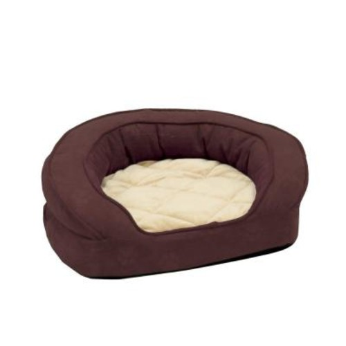 K&H Pet Products Deluxe Ortho Bolster Sleeper Extra Large Eggplant Paw Print Dog Bed