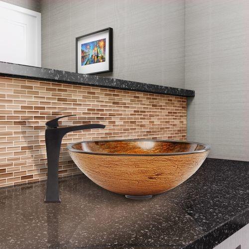 VIGO Glass Vessel Sink in Cappuccino Swirl and Blackstonian Faucet Set in Antique Rubbed Bronze