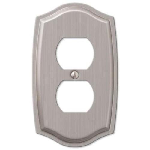 Hampton Bay Vineyard 1 Duplex Outlet Plate - Brushed Nickel Steel