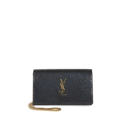 SAINT LAURENT Monogram Glitter Leather Chain Wallet