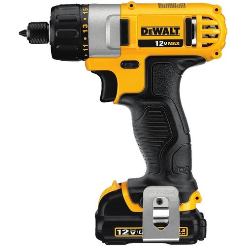 DEWALT 12-Volt MAX Lithium-Ion Cordless 1/4 in. Screwdriver Kit with (2) Batteries 1.5Ah, Charger and Contractor Bag
