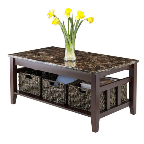 Winsome Zoey Chocolate Wood Faux Marble Top Coffee Table with 3 Foldable Baskets