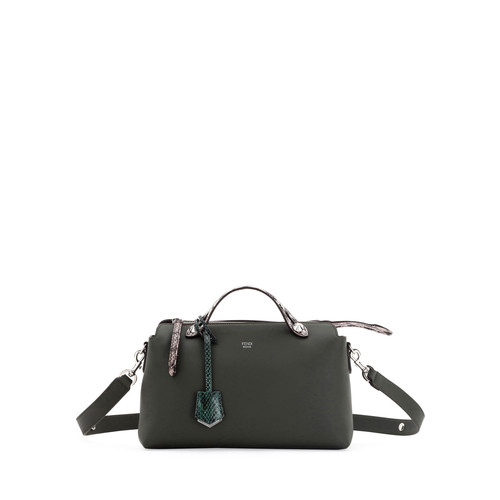 FENDI By The Way Small Leather & Snakeskin Satchel Bag, Green/Silver