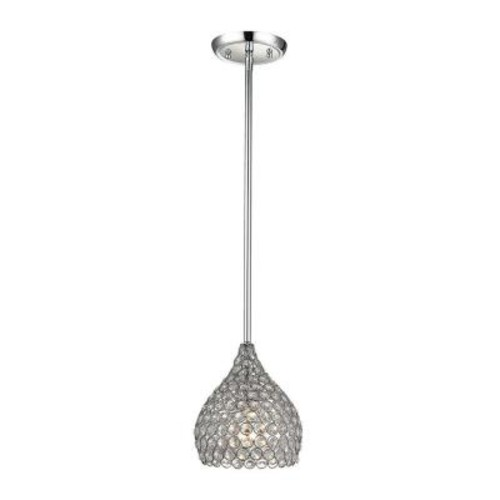 Home Decorators Collection 1-Light Polished Chrome Pendant with Clear Crystal Accents Set Individually in Metal Rings
