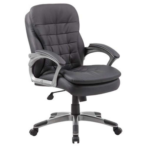Boss Office Products B9336 Executive Mid Back Pillow Top Chair in Black