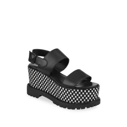 Cady Leather Slingback Platform Sandals