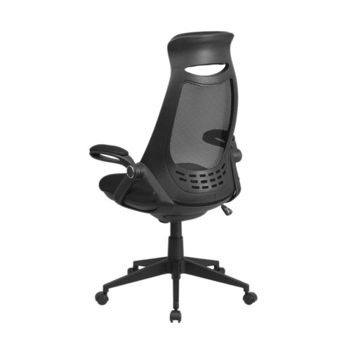 Offex High Back Black Mesh Executive Swivel Office Chair With Flip-Up Arms [HL-0018-GG]