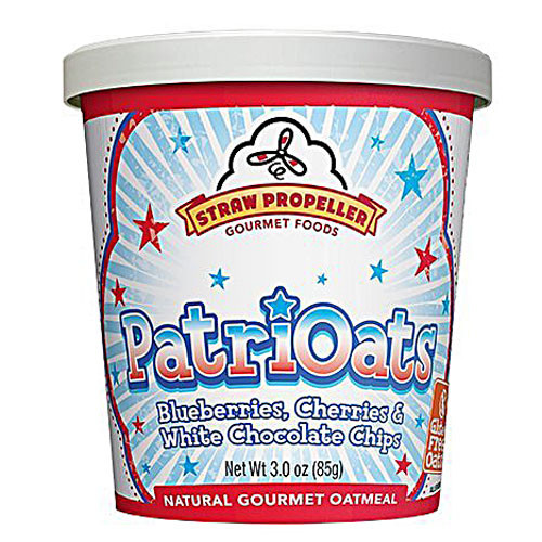 Straw Propeller PatriOats Natural Gourmet Oatmeal Blueberries Cherries & White Chocolate Chips -- 3 oz