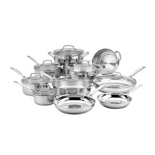 Cuisinart Chef's Classic Stainless Steel 17-Piece Cookware Set, Black (77-17N)