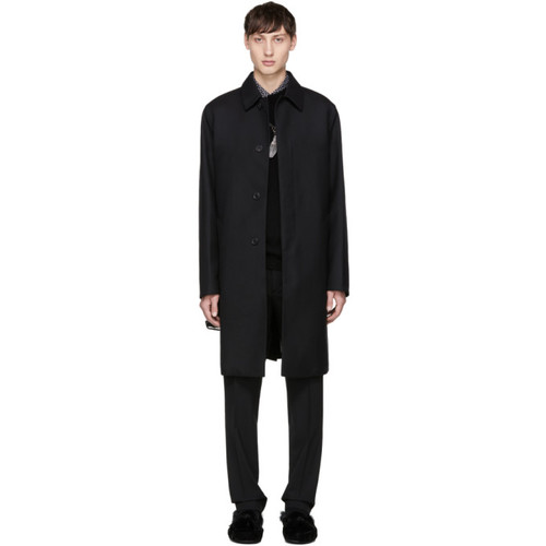 PRADA Black Wool Twill Trench Coat