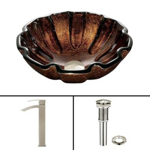 VIGO Glass Vessel Sink in Walnut Shell and Duris Faucet Set in Brushed Nickel
