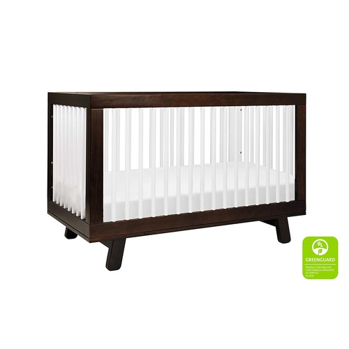 Babyletto Hudson 3-in-1 Convertible Crib with Toddler Bed Conversion Kit, Espresso / White [Espresso / White]