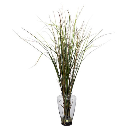 Nearly Natural Grass & Bamboo Faux-Silk Plant with Large Jar