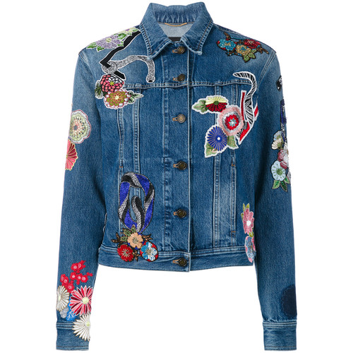 SAINT LAURENT Floral Patch Denim Jacket