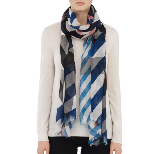 BURBERRY Striped & Mega Check Scarf