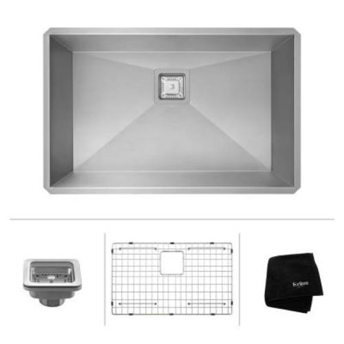 KRAUS Pax Zero-Radius 28.5in. 16 Gauge Undermount Single Bowl Stainless Steel Kitchen Sink