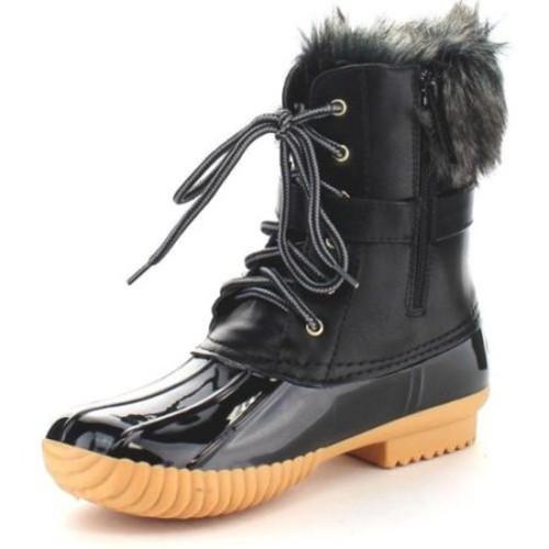 Nature Breeze Women's Waterproof Lace-up Buckle Duck Boots BROWN-7