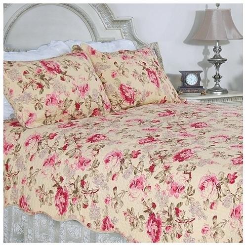 Lelia Pink Rose Cottage Cotton Full/ Queen-size Quilt Set