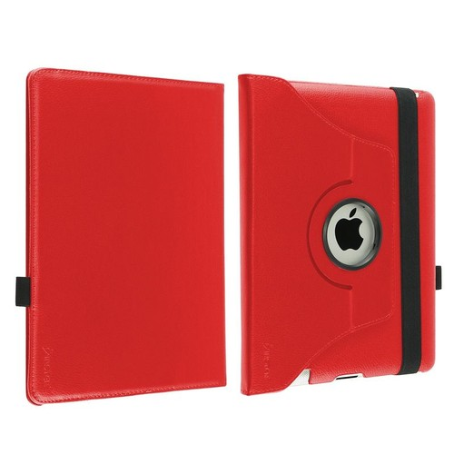 Insten Red 360 Rotating Leather Case+Clear Protector+Stylus for iPad 2 nd 3 rd 4 th (Supports Auto Sleep/Wake)