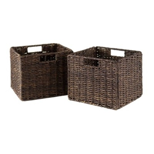 Granville Foldable 2-PC Small Corn Husk Baskets, Chocolate [2 small basket]