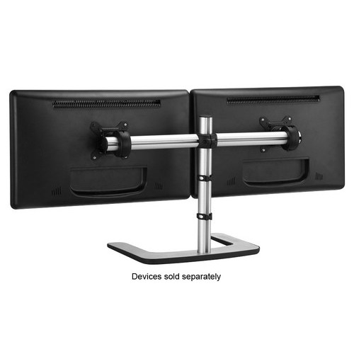 Visidec - Freestanding LED/LCD Monitor Stand for Dual Displays - Silver
