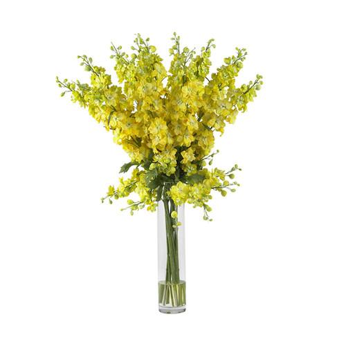 Nearly Natural Delphinium Silk Flower Arrangement Yellow