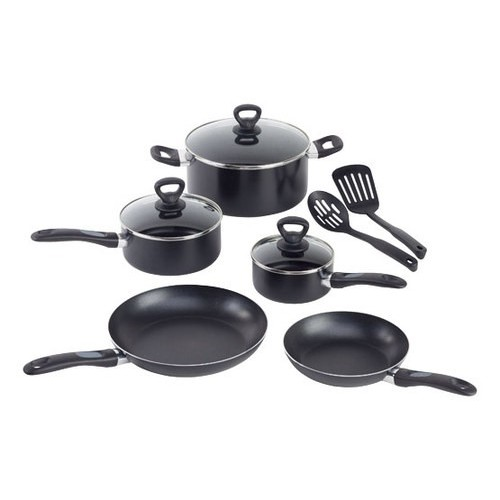 T-Fal Comfort Grip 10-Piece Black Cookware Set with Lids