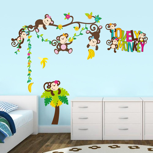HomeSource Colorful Array of Monkey See Monkey Do 12 in x 36 in Removable Wall Graphic
