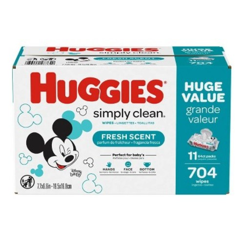 Huggies Simply Clean Baby Wipes Rigid Flip Top Refill Case - 792 ct