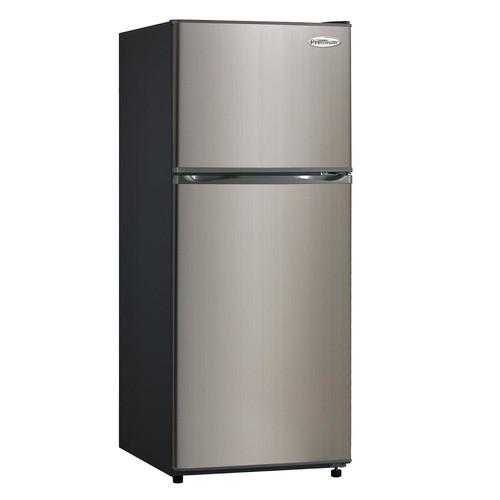 PREMIUM 11.5 cu. ft. Frost Free Top Freezer Refrigerator in Black with Stainless Steel Door