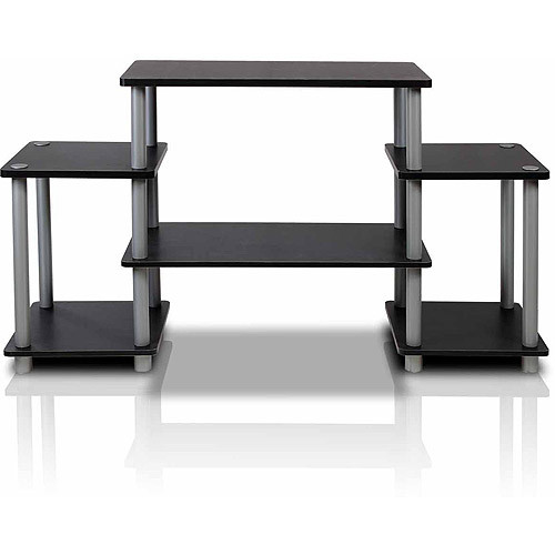 Furinno 11257BK/GY Turn-N-Tube No Tools Entertainment TV Stands, Black/Grey [Black and Grey, Square Corner]