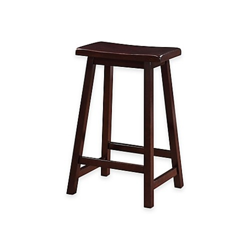 Classic Saddle 24-Inch Counter Stool in Dark Brown