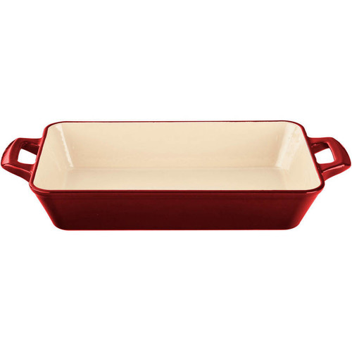 La Cuisine Large Deep Cast Iron Roasting Pan with Enamel Finish in Red