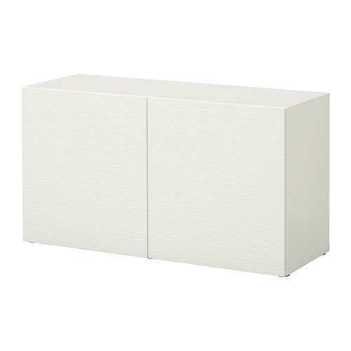 BEST Shelf unit with glass doors, walnut effect light gray, Glassvik white/frosted glass
