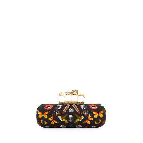 ALEXANDER MCQUEEN Obsession Knuckle Box Clutch Bag, Black/Multi