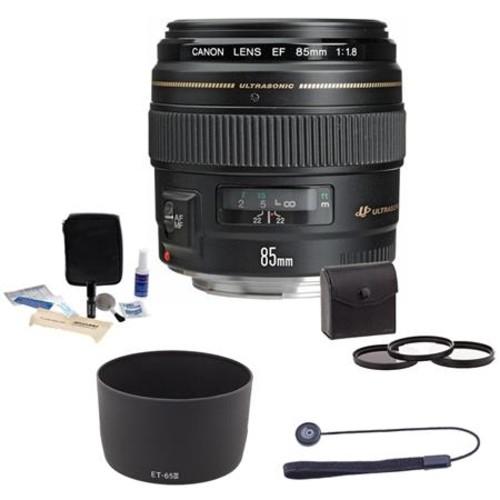 Canon EF 85mm f/1.8 USM Lens/Filter BUNDLE, USA 2519A003 E