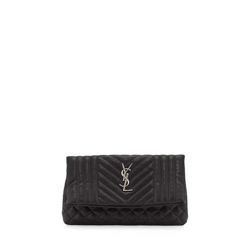 SAINT LAURENT Monogram Tri-Quilt West Hollywood Clutch Bag, Black